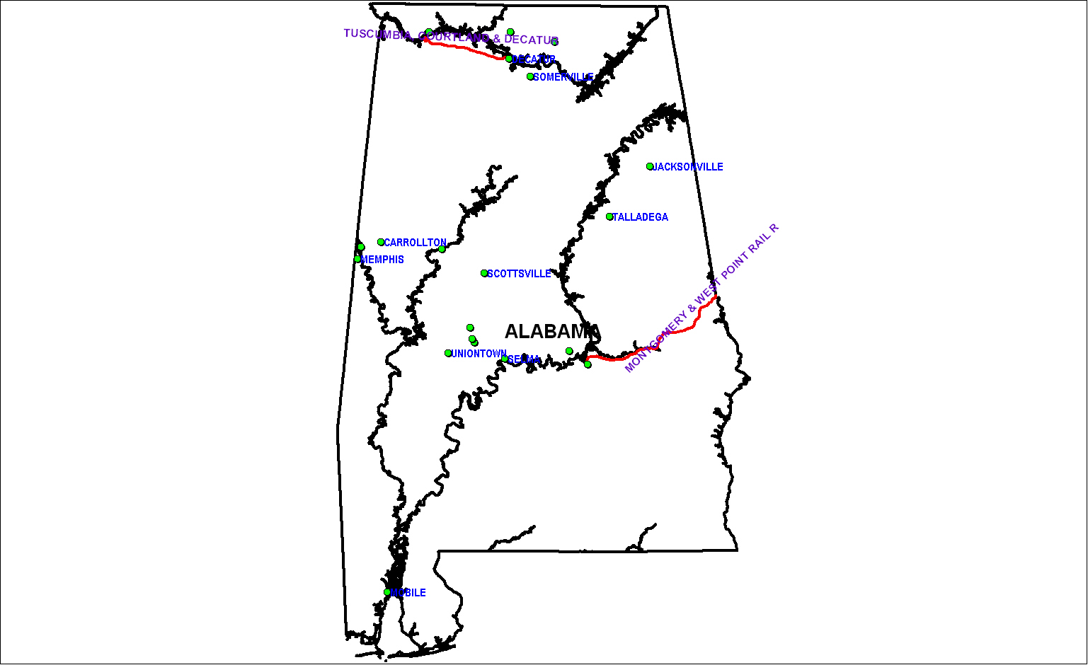 Alabama Railroads in 1850 Map