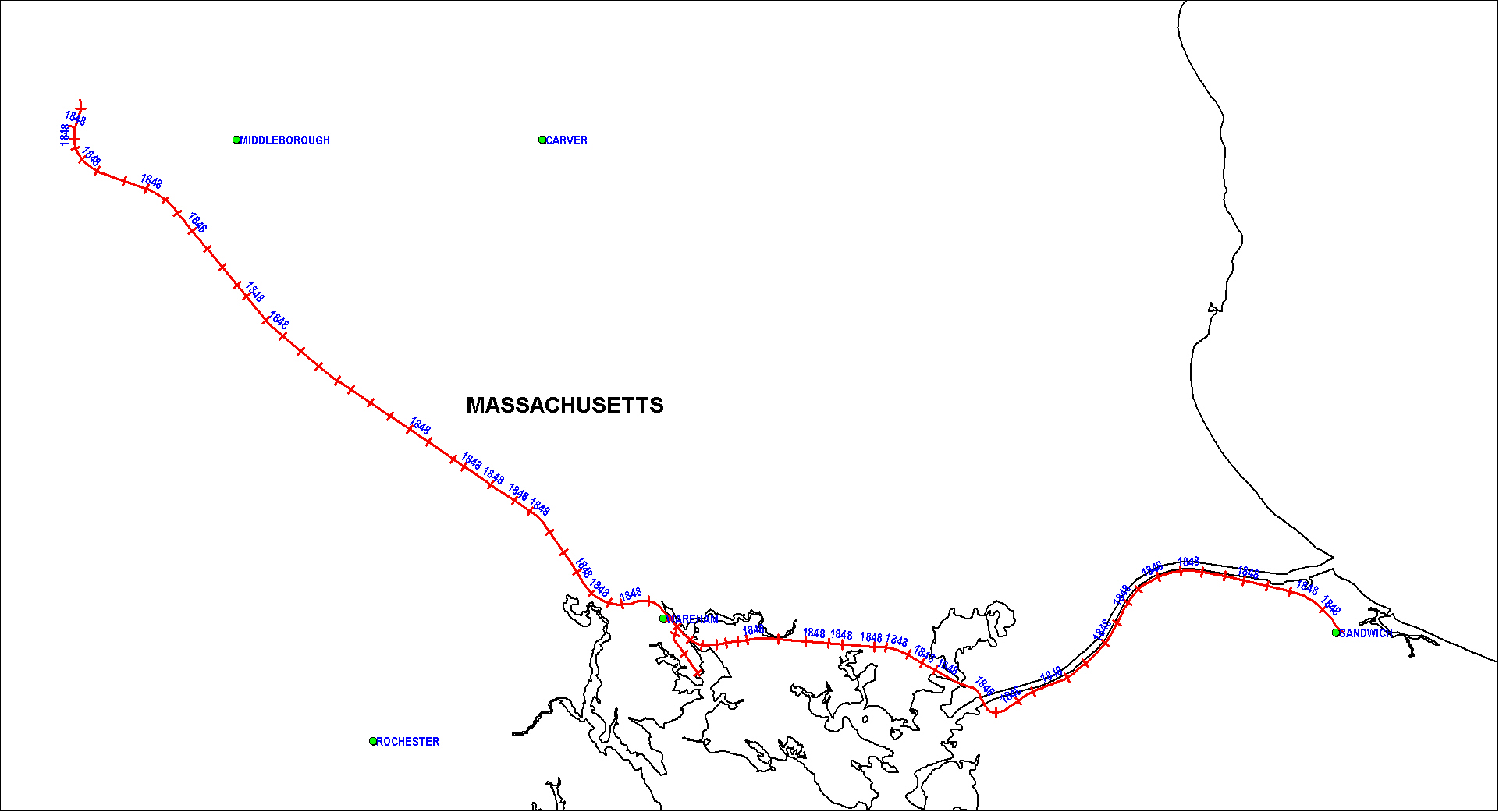 Cape Cod Branch Railroad Map as of 1850