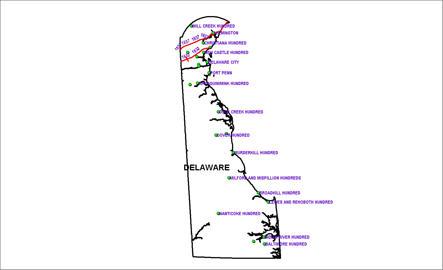 Delaware Railroad Map as of 1850