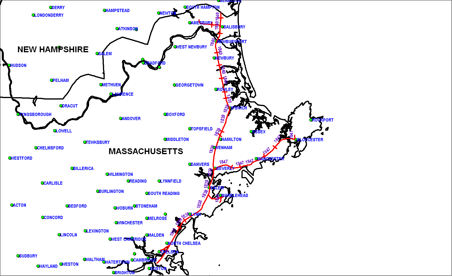 Eastern Railroad of Massachusetts Map as of 1850