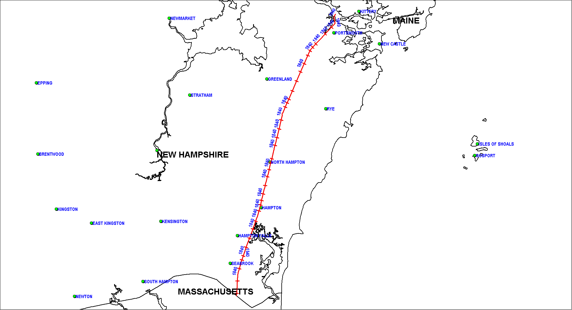 Eastern Railroad of New Hampshire Map as of 1850