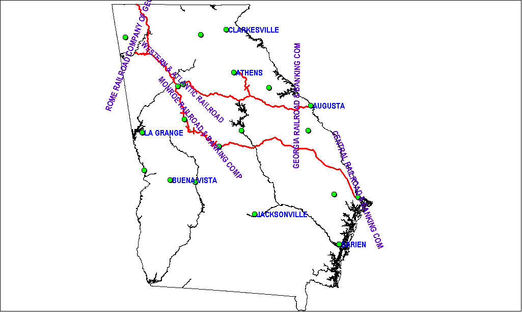 Georgia Railroad Map as of 1850