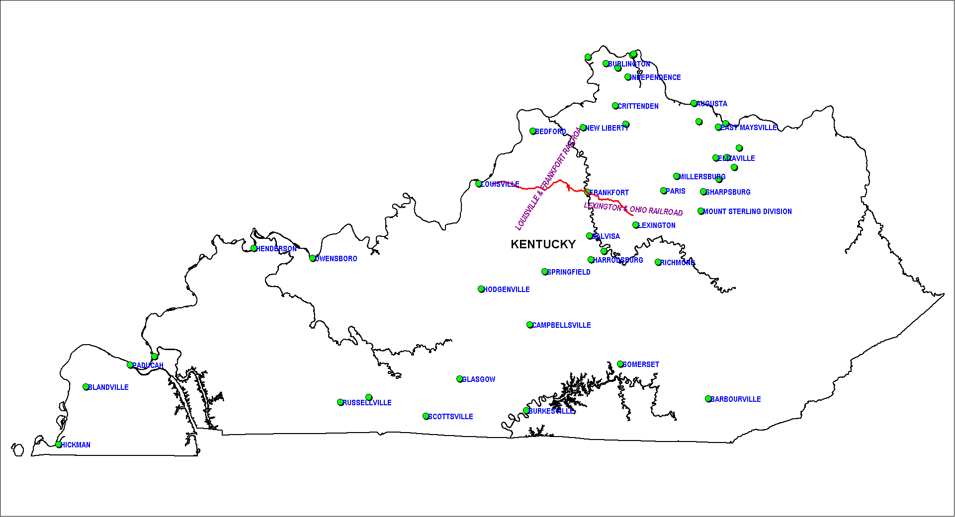 Kentucky Railroad Map as of 1850