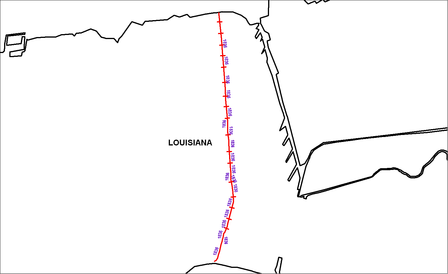 Milnburg & Lake Pontchartrain Railroad map as of 1850