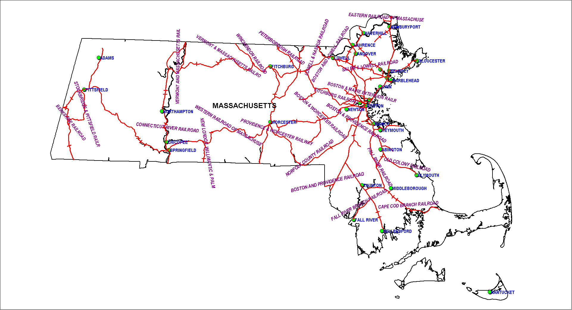Massachusetta Railroads Map as of 1850
