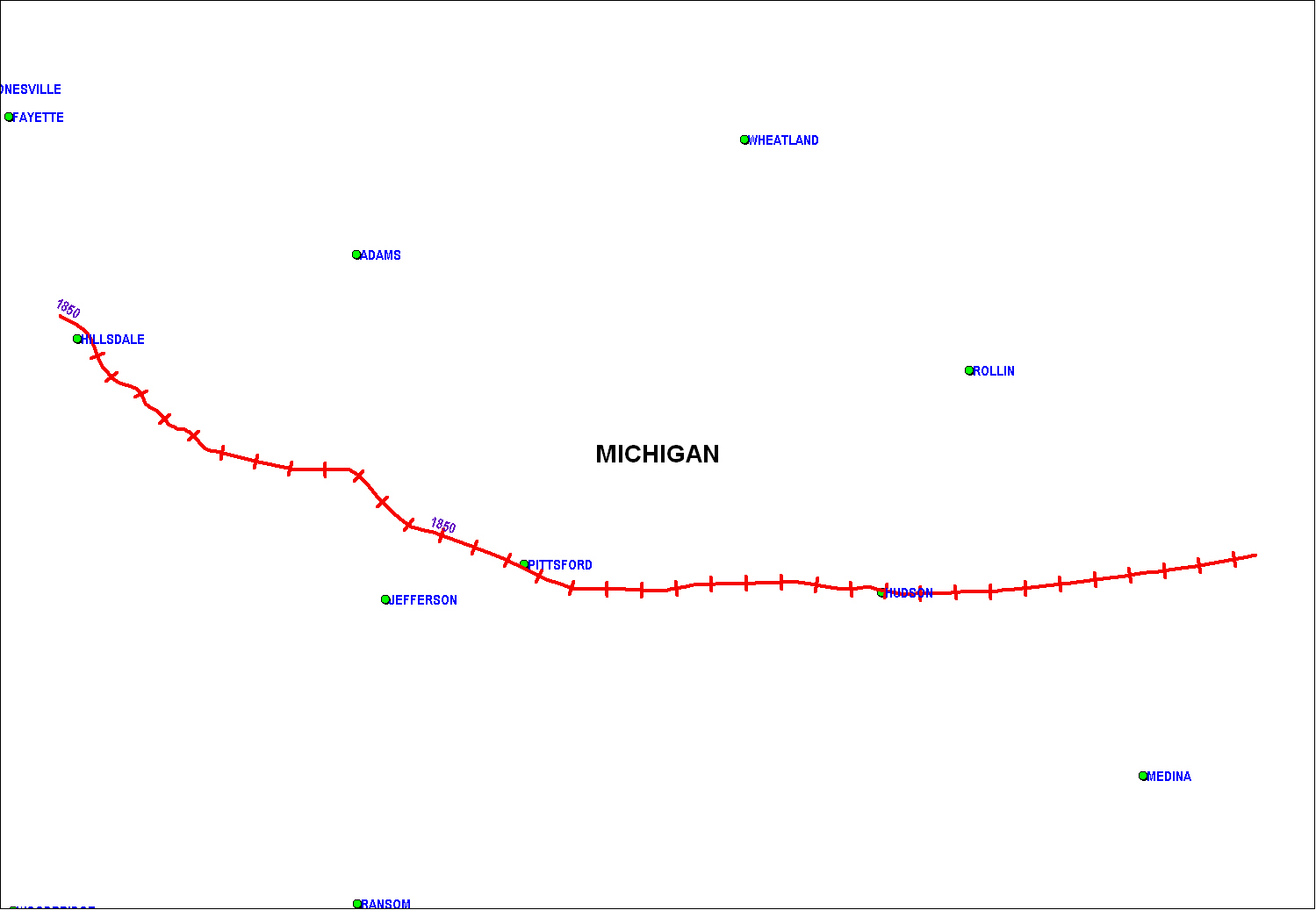 Michigan Southern Railroad map as of 1850
