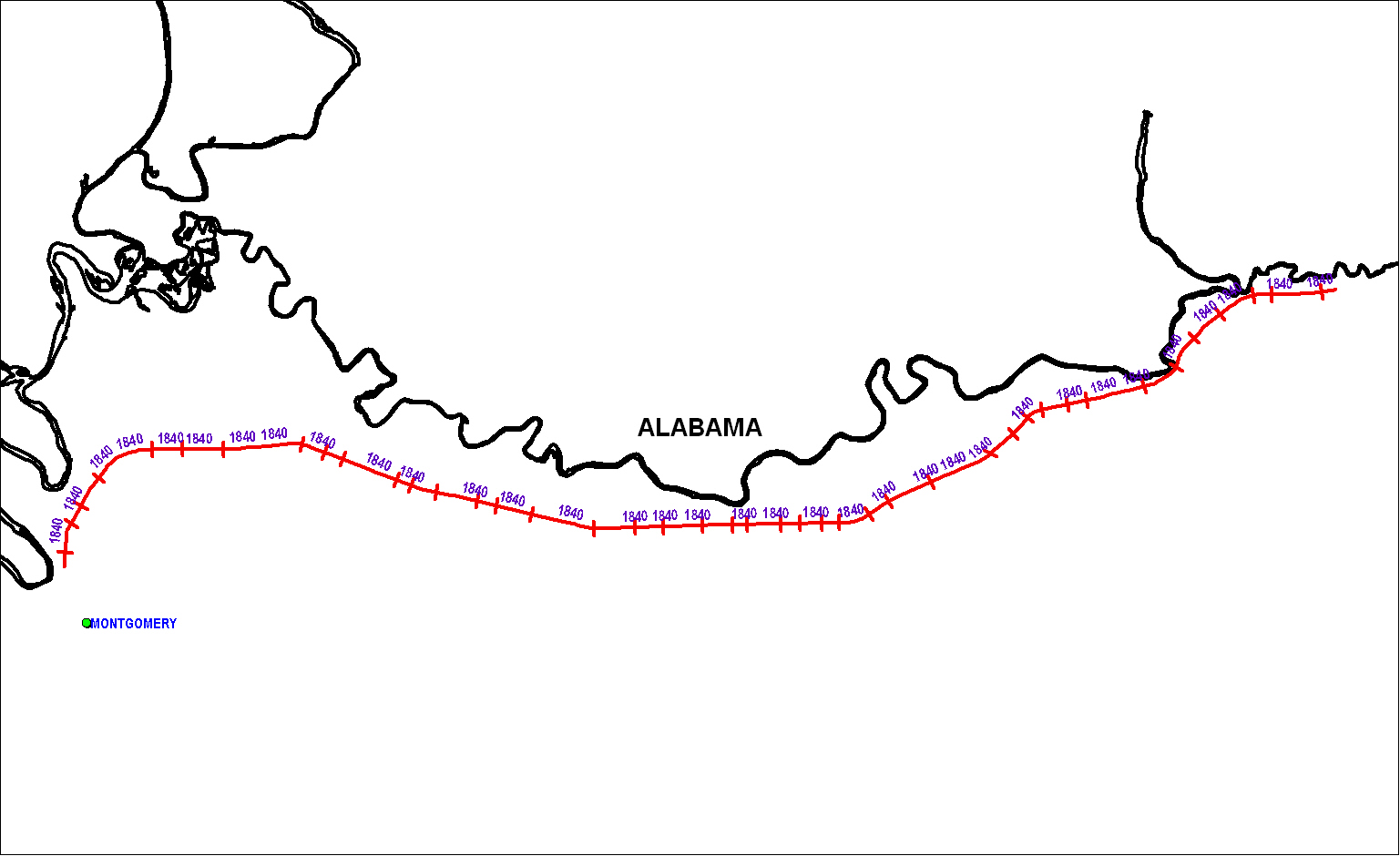 Montgomery Railroad as of 1850