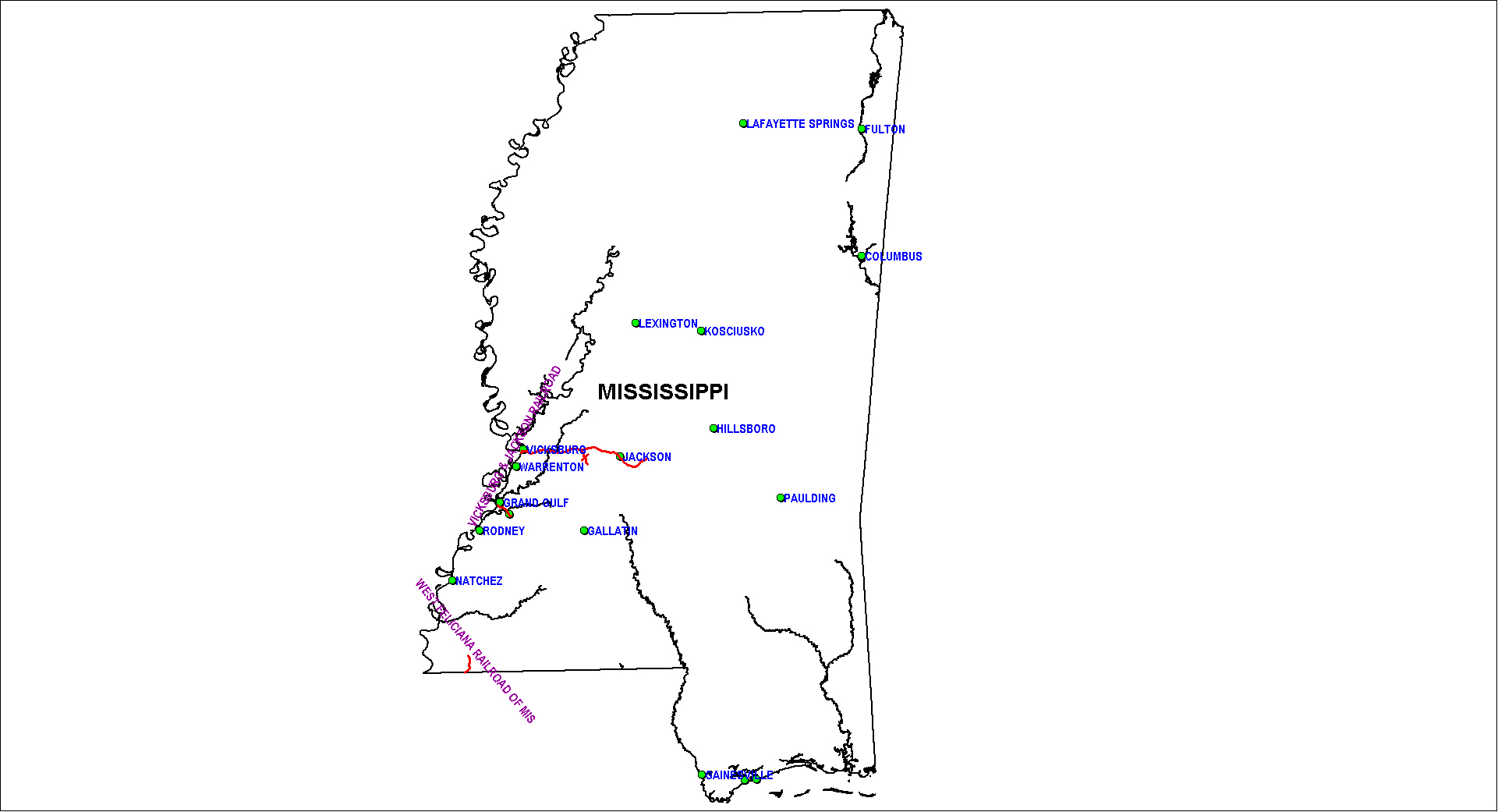 Mississippi Railroad Map as of 1850