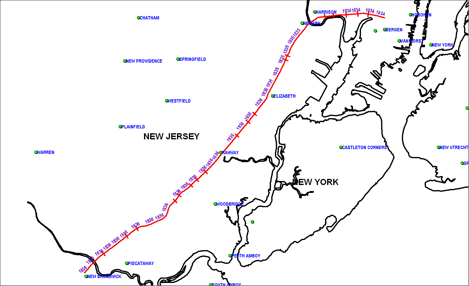 New Jersey Railroad & Transportation Co map as of 1850