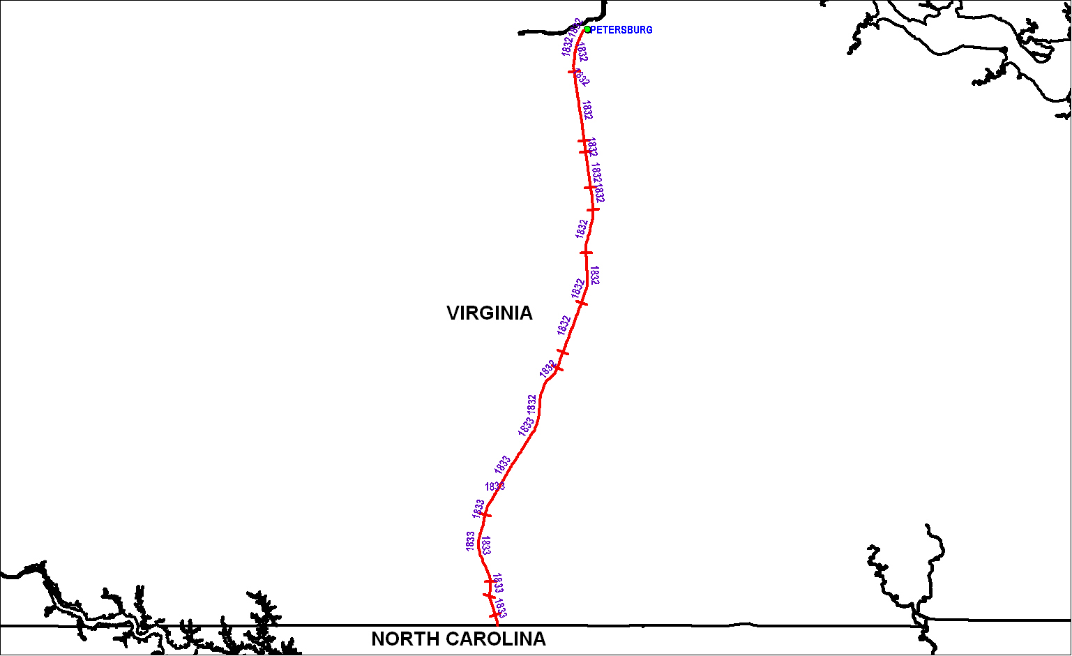 Petersburg Railroad (VA) map as of 1850