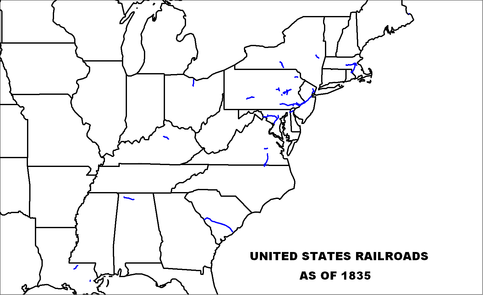 US Railroads Map as of 1835