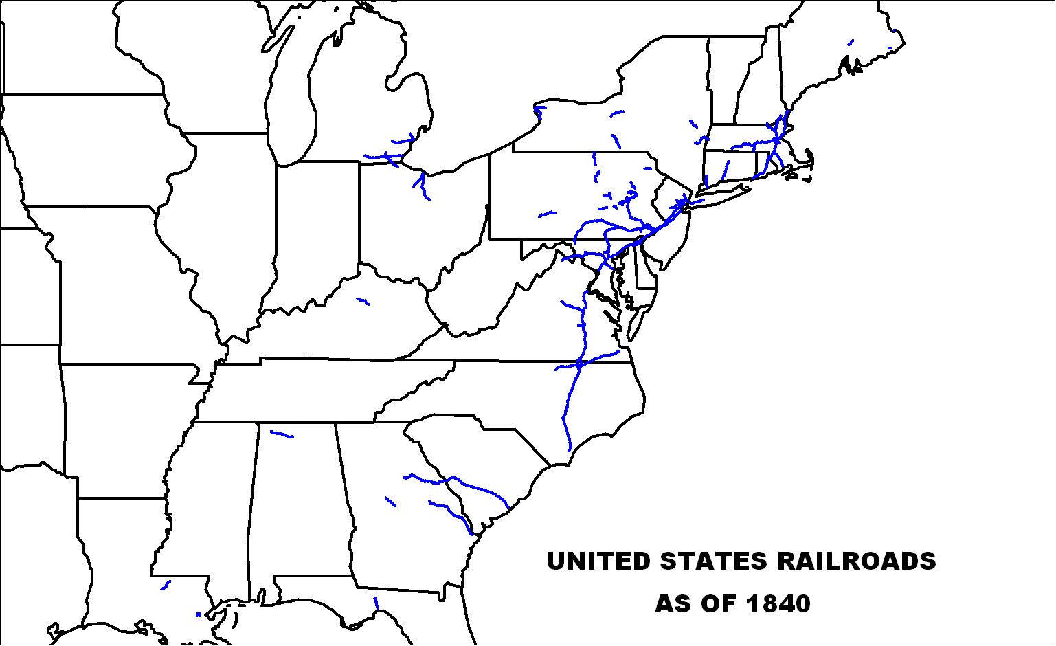 US Railroad Maps as of 1840