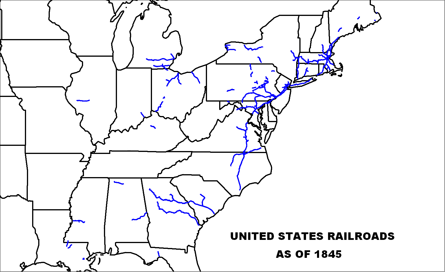 US Railroads Map as of 1845