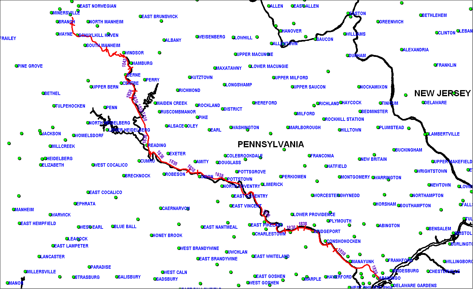 Philadelphia & Reading Railroad map as of 1850