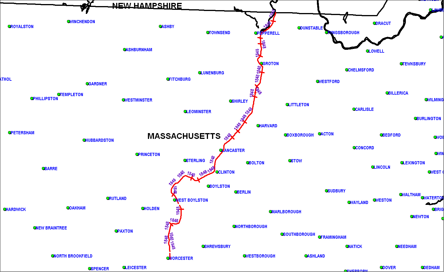 Worcester & Nashua Railroad map as of 1850