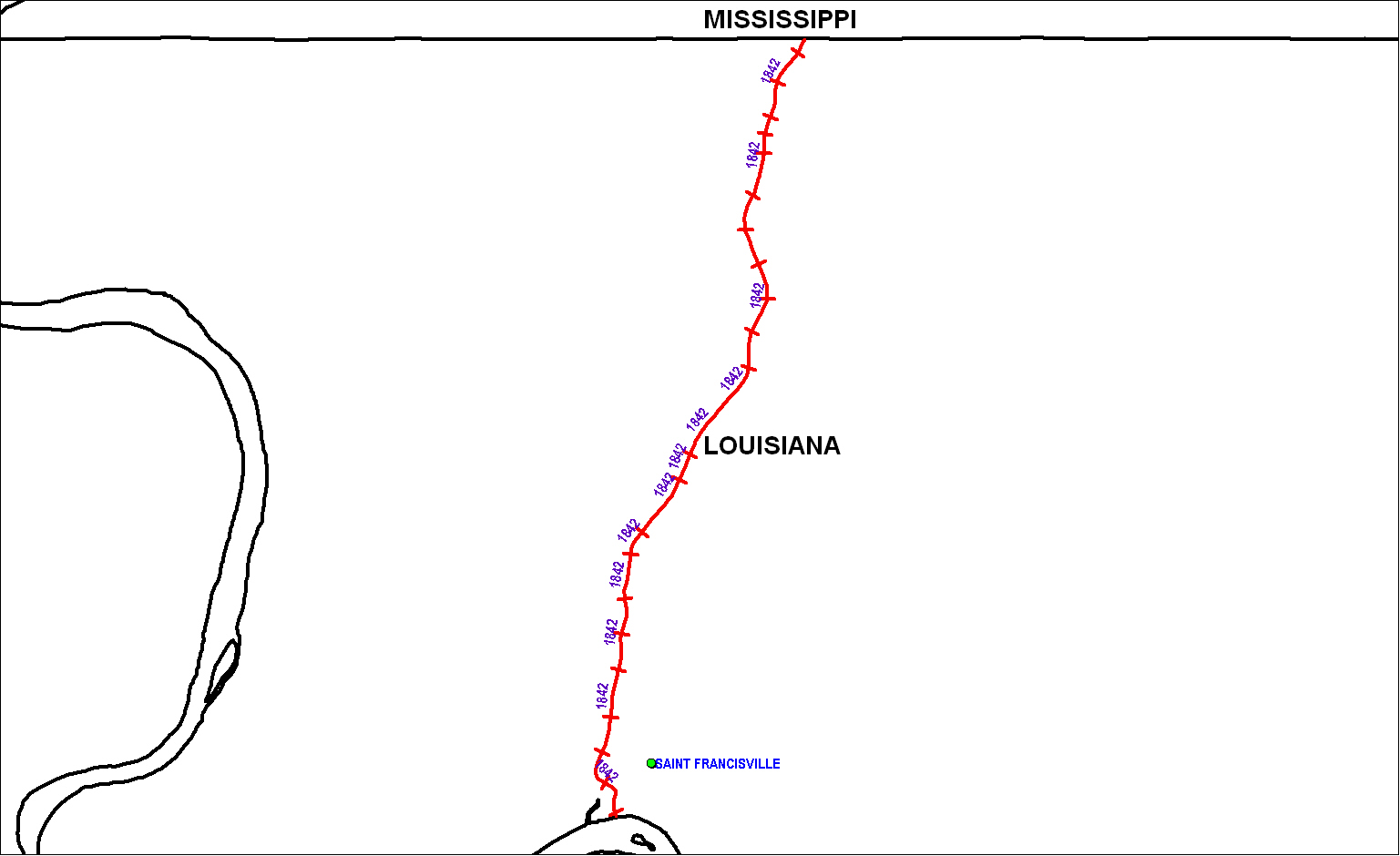 West Feliciana Railroad (LA) map as of 1850