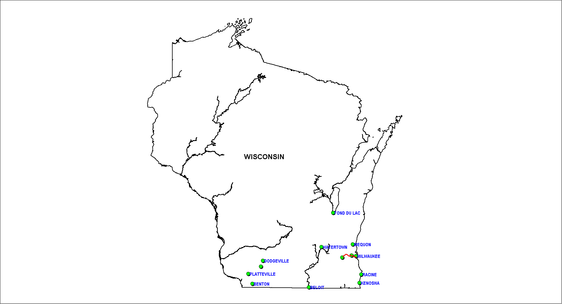 Wisconsin Railroad Map as of 1850