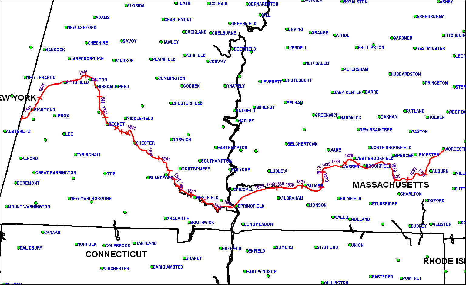 Western Railroad (MA) map as of 1850