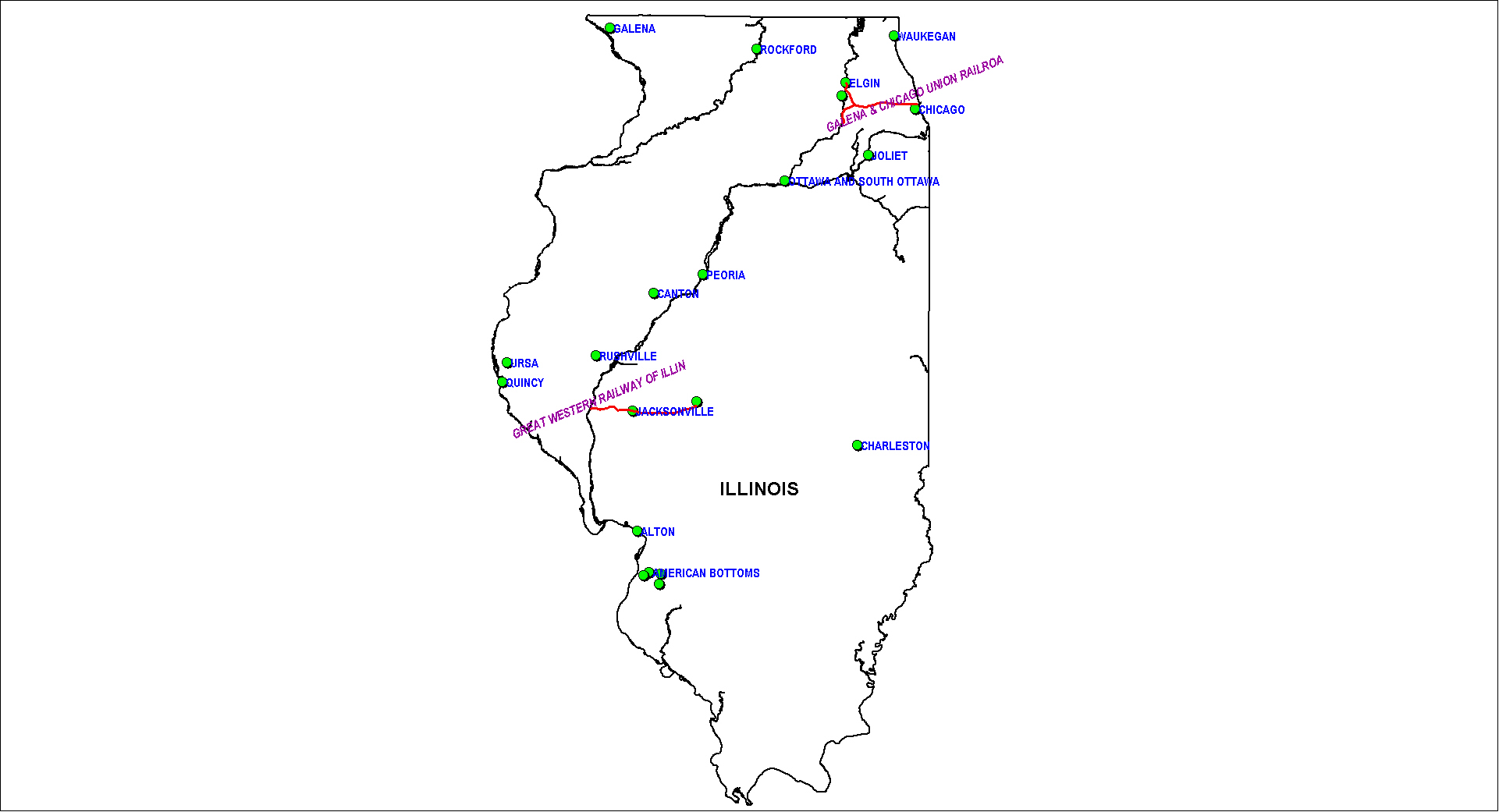 Illinois Railroad Map as of 1850
