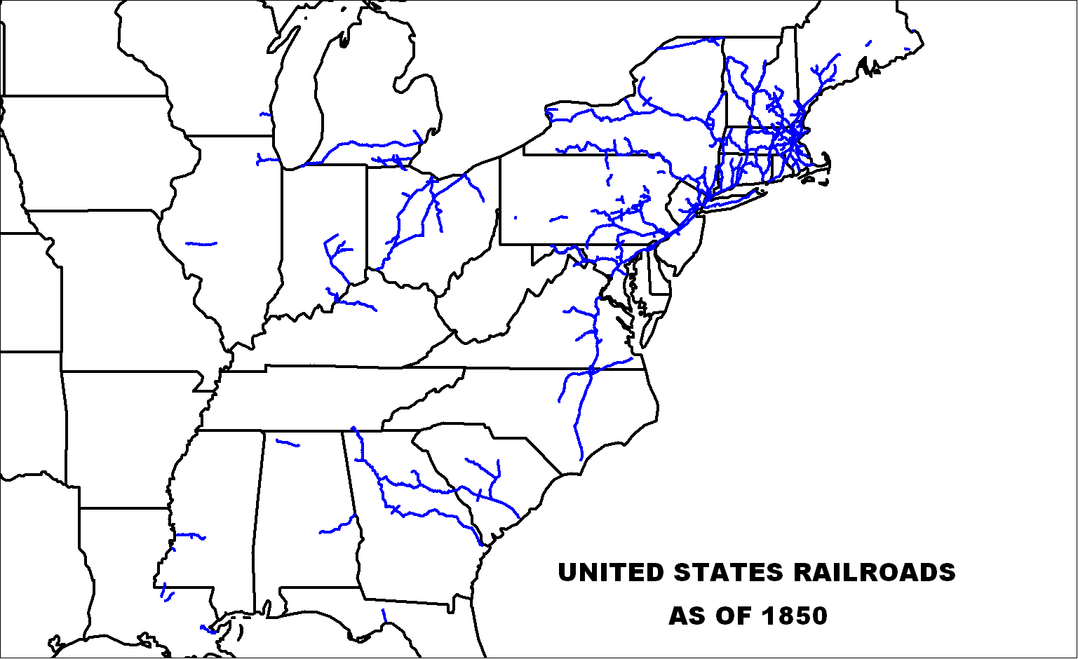 US Railroads Map as of 1850